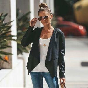 Zara Waterfall Drape Faux Leather Jacket